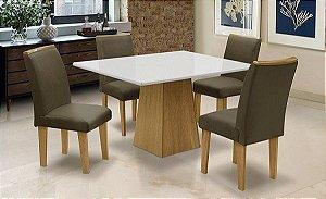 Conjunto Mesa c 4 Cadeiras Florença Dobuê Mel/Bco 78x90x120