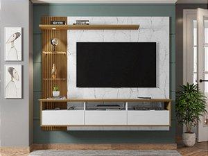 """Painel p/ TV 60"""" Trend Bechara Carrara/Bco/Canela 161x180x33"""