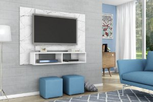 "Painel p/ TV 47"" Navi Bechara Carrara/Branco 90x120x28"