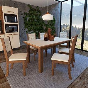 Conj. Mesa 6 Cadeiras New Phenix Noce/Off White 78x160x90