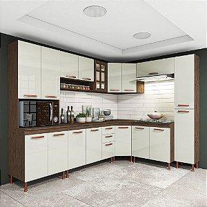 Cozinha Planejada Marie Indekes Off White / Noce 204x265x53
