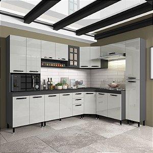 Cozinha Planejada Marie Indekes 8 Pçs Off / Cinza 204x265x53