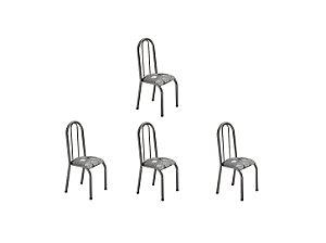 Conjunto 4 Cadeiras Carla Ref 114/15 Madmelos Preto 97x39x47