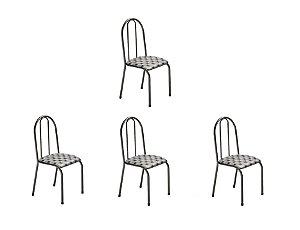 Conj 4 Cadeiras Reg/Chevet Ref078/16 Madmelos Preto 96x39x47