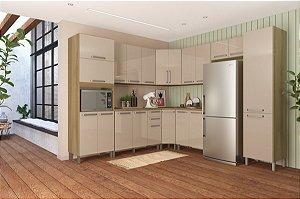 Cozinha Planejada Lis Indekes 9 Pçs Off/Castanho 53x283x226