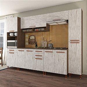 Cozinha Planejada Gold Indekes 6 Pçs Noz/Avelã 300x53x217