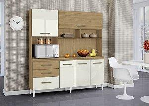 Cozinha Completa Lory Aramóveis 194X182X39 Off White/Canela