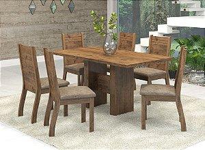 Conjunto Sala de Jantar Dublin Mesa 136x80 + 6 Cadeiras Cast