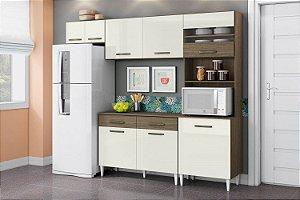 Cozinha Completa Leyla com balcão 5Pt/3Gav Off White/Imbuia
