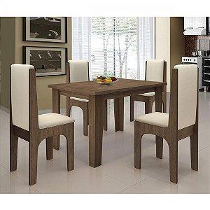 Conjunto de Mesa Miami 120X80 cm com 4 Cadeiras Dobuê Canela