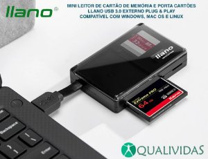 Mini Leitor de cartão de memória USB 3.0 llano porta cartões externo universal