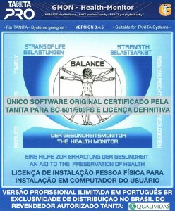 Software Tanita Pro Gmon Health Profissional Ilimitado Balança Tanita BC 601 e BC 603 FS pessoa física