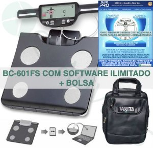 TANITA OFICIAL - Balança Tanita BC 601 ou 603 FS com Software Ilimitado Tanita Pro Gmon Health Brasil e bolsa