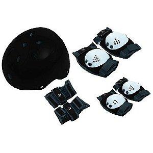 Kit Proteção Com Capacete Eps Bel Sports P M G Preto