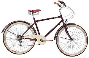 Bicicleta Style Novello Blitz Vintage Aro 26 Retrô Masculina - Vermelha