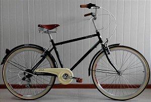 Bicicleta Style Novello Blitz Vintage Aro 26 Retrô Masculina - Preta