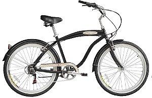 Bicicleta Aro 26 Blitz Beach Cruiser Mistral Com 6 Marchas - Preta