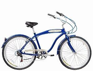 Bicicleta Aro 26 Blitz Beach Cruiser Mistral Com 6 Marchas - Azul