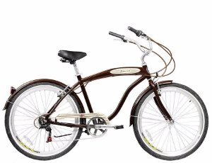 Bicicleta Aro 26 Blitz Beach Cruiser Mistral Com 6 Marchas - Marrom