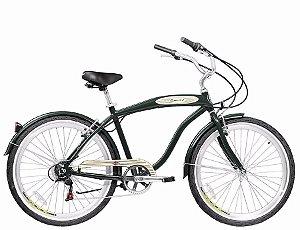 Bicicleta Aro 26 Blitz Beach Cruiser Mistral Com 6 Marchas - Verde