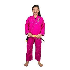 Kimono Feminino Infantil Rosa Jiu Jitsu Brasil Combat