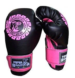 Luva De Boxe Juvenil Muay Thai Mma Brazuca Profissional 8 Oz Rosa