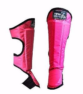 Protetor Canela Pé Caneleira Anatomica Muay Thai Kickboxing Rosa
