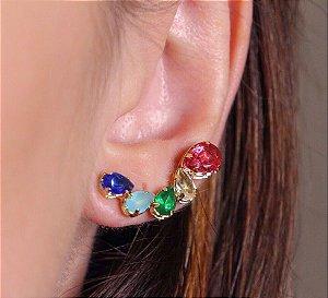 Brinco ear cuff de gotas coloridas banhado a ouro