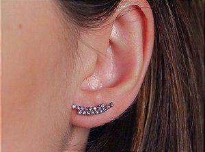 Brinco ear cuff duplo de zircônias ametistas banhado a ródio branco