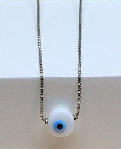 Gargantilha de olho grego de vidro banhada a ouro