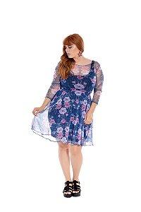Vestido Plus Size Tule Floral