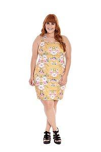 Vestido Plus Size Curto Floral Mostarda II