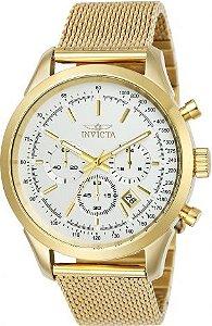 Relógio invicta Speedway 25225 Original Dourado e Branco