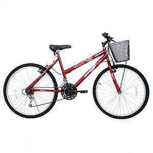 Bicicleta ARO 26 MTB Bella Rosa C/ Cestinha