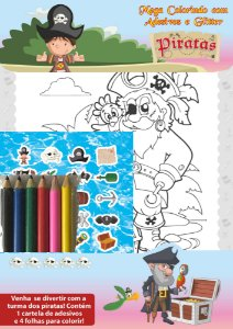 Piratas - Mega colorindo com adesivos e glitter
