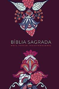 Bíblia Nvt Lg Capa Soft Touch - Indian Flowers Vinho