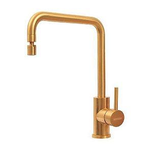 Misturador Monocomando Tramontina Angolare em Aço Inox Gold com Bica Articulada com revestimento PVD