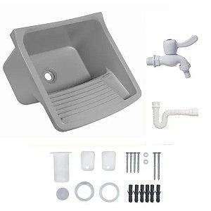Tanque Plástico 22 litros (Cinza claro) completo com sifão, torneira e acessórios