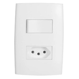 Kit com Placa 4x2, Interruptor Simples e Tomada 10A Separada Branco Astra