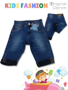 Bermuda Jeans  Infantil Com Detalhe Na Barra