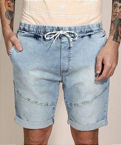 Bermuda jeans slim com barra destroyed cintura super alta azul médio