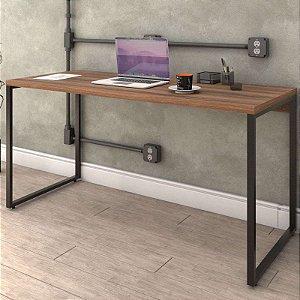 Mesa Para Escritório Home Office Estilo Industrial Form C01 150 cm Nogal - Lyam Decor