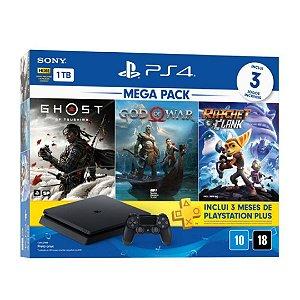 Console PS4 Slim 1TB + Controle Dualshock 4 + 3 Jogos + 3 meses PlayStation Plus (Bundle 18) – Sony