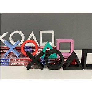 Kit com 4 símbolos em resina do Playstation