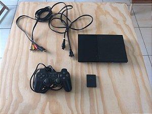 Console Playstation 2 Slim + 1 Memory Card + 1 Controle + 10 Jogos