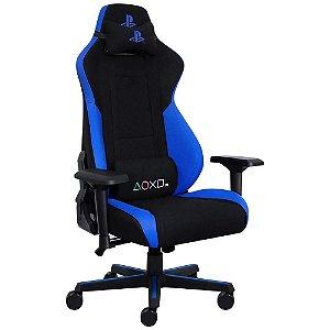 Cadeira Gamer Pcyes Playstation, Até 180Kg com Almofadas e Inclinação, Preto/Azul