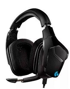 Fone de ouvido gamer Logitech G Series G635 preto com luz rgb LED