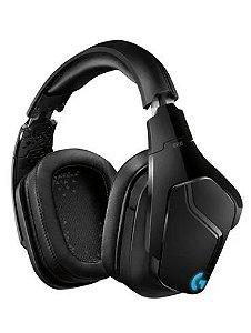 Fone de ouvido gamer sem fio Logitech G Series G935 preto e azul com luz rgb LED