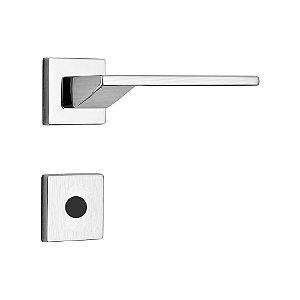 Fechadura para Porta de Banheiro Cromo Acetinado 55mm com Roseta MZ440 Design Papaiz