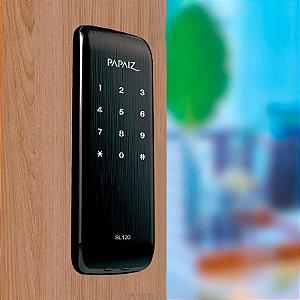 Fechadura Digital Sem Maçaneta Smart Lock de Sobrepor SL120 Preto Fosco Papaiz